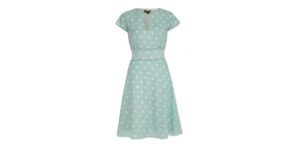 Dámske svetlo modré šaty s bodkami Fever