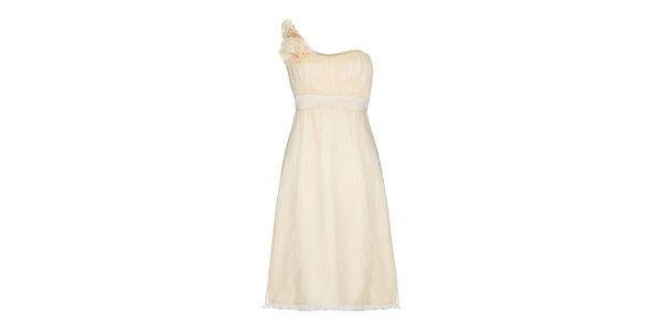 Dámske krémové šaty na jedno rameno Fever