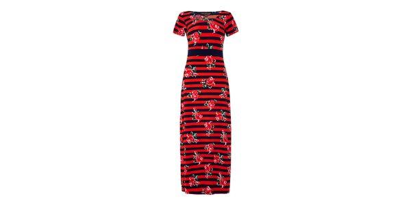 Dámske červeno pruhované šaty s kvetinami Fever