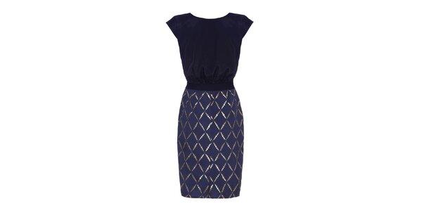 Dámske tmavo modré šaty so vzorovanou sukňou Fever