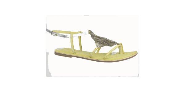 Dámske kožené limetkovo-strieborné sandále Bullboxer