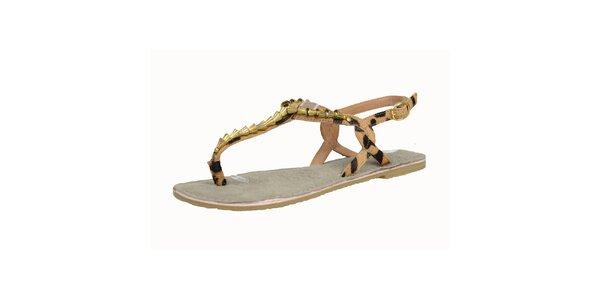 Dámske kožené leopardie sandále so zlatými komponentmi Bullboxer