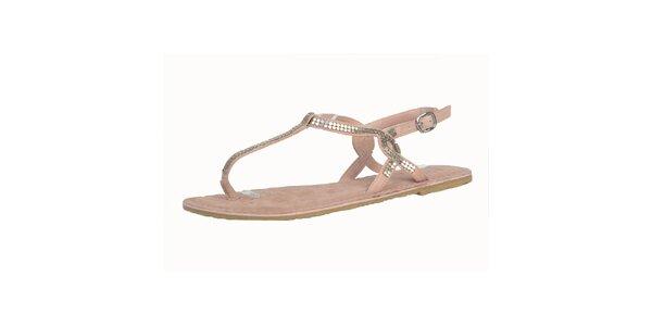 Dámske kožené ružové sandále s flitrami Bullboxer