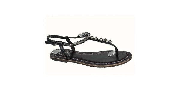 Dámske čierne kožené sandále s korálkami Bullboxer