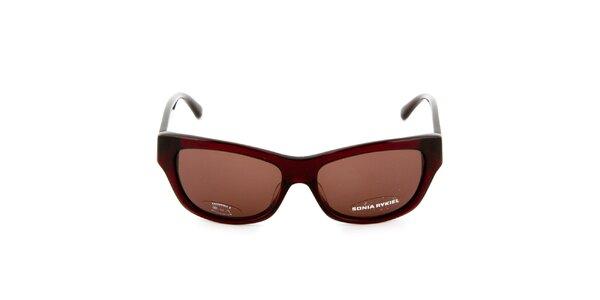 Červenohnedé slnečné okuliare s prúžkami na straniciach Sonia Rykiel