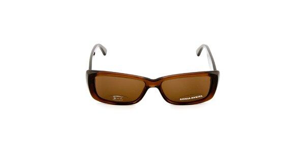 Tmavo hnedé slnečné okuliare s logom Sonia Rykiel