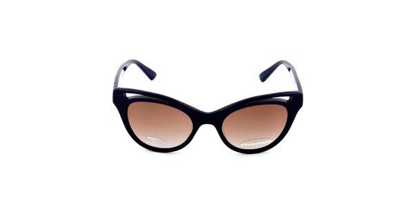 Dámske tmavo modré retro slnečné okuliare s hnedými sklíčkami Sonia Rykiel