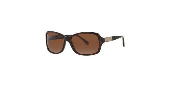 Dámske tmavo hnedé žíhané slnečné okuliare Michael Kors
