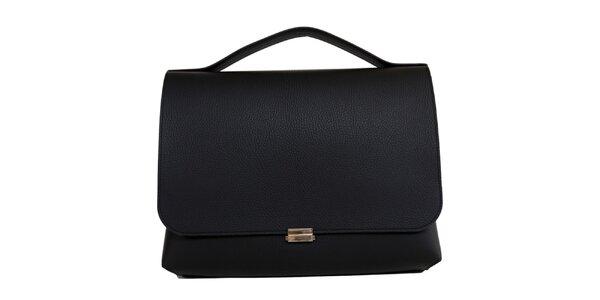 Dámska čierna obdĺžniková kožená kabelka Bellemarie