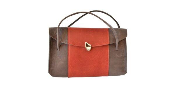 Dámska hnedá kabelka s farebným pruhom Bellemarie