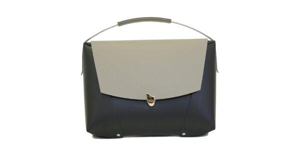 Dámska čierna kožená kabelka so šedou klopou Bellemarie