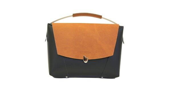 Dámska čierna kožená kabelka s béžovou klopou Bellemarie