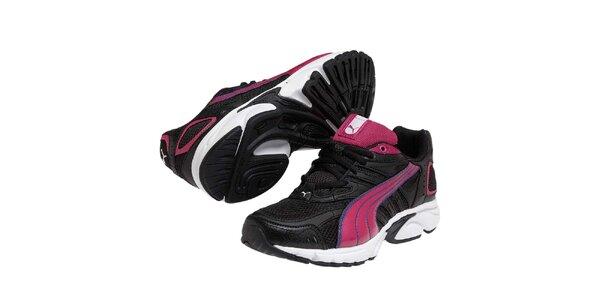 Dámske čierne športové tenisky s farebnými detailmi Puma