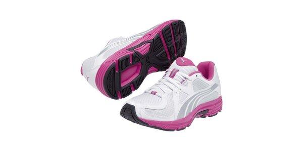 Dámske bielo-strieborno-ružové športové tenisky Puma