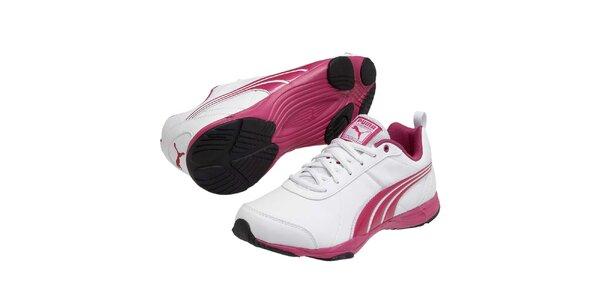 Dámske biele športové tenisky s ružovými prvkami Puma