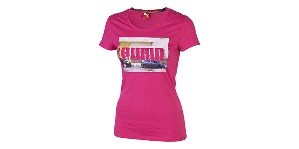 Dámske ružové tričko s potlačou Puma