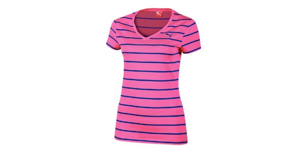 Dámske ružové pruhované tričko Puma