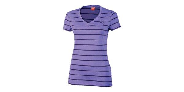 Dámske fialové pruhované tričko Puma