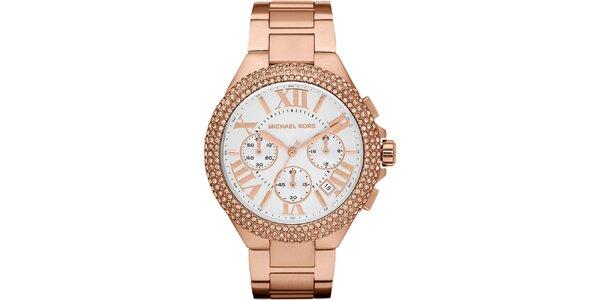 Dámske pozlátené ocelové hodinky s okrúhlym ciferníkom a kryštálikmi Michael…