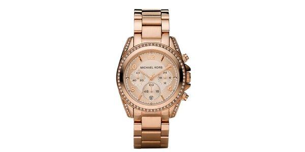 Dámske pozlátené ocelové hodinky Michael Kors s kryštálikmi