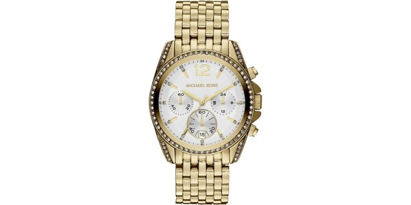 Dámske pozlátené hodinky s dátumovkou a chronografom Michael Kors