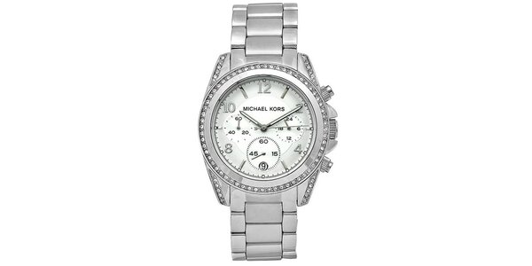 Dámske hodinky z ušľachtilej ocele so zirkónmi na lunete Michael Kors