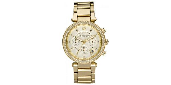 Dámske pozlátené hodinky s lunetou so zirkónmi Michael Kors