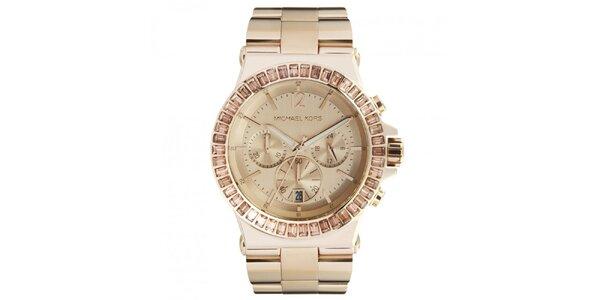 Dámske pozlátené hodinky s chronografom a dátumovkou Michael Kors