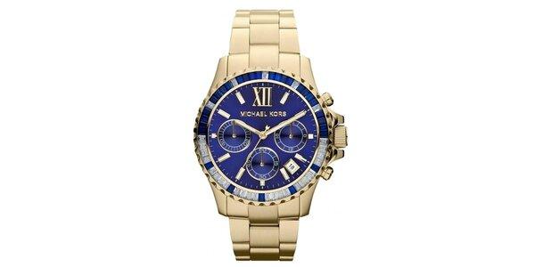 Dámske pozlátené hodinky s modrým ciferníkom Michael Kors