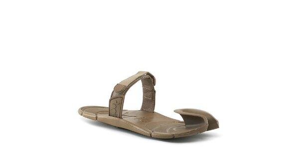 Hnedé topánky s textilným remienkom cez členok Dopie