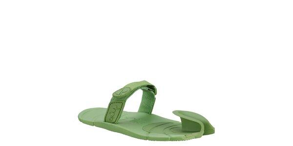 Zelené topánky s textilným remienkom cez členok Dopie