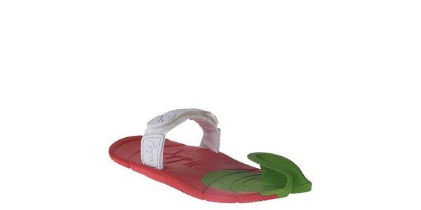 Červeno-zeleno-biele topánky s textilným remienkom cez členok Dopie
