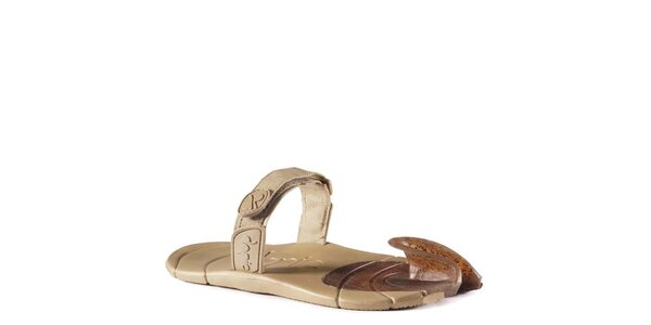Khaki topánky s textilným remienkom cez členok Dopie