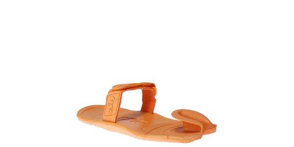 Oranžové topánky s textilným remienkom cez členok Dopie