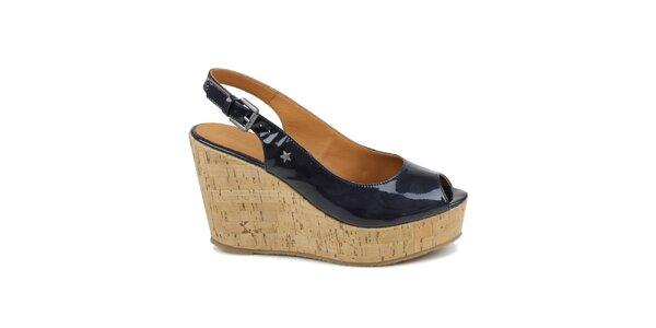 Dámske tmavo modré lakované topánky na kline Cubanas Shoes