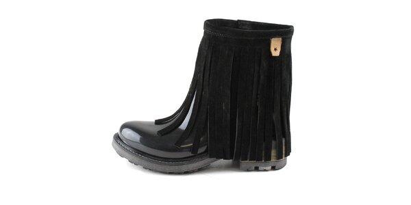 Dámske čierne nízke čižmy so strapcami Cubanas Shoes
