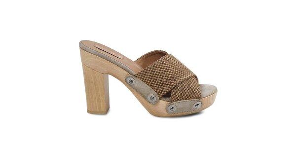 Dámske béžové sandálky s platformou Cubanas Shoes
