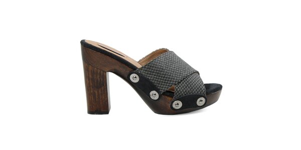 Dámske čierne sandálky s platformou Cubanas Shoes