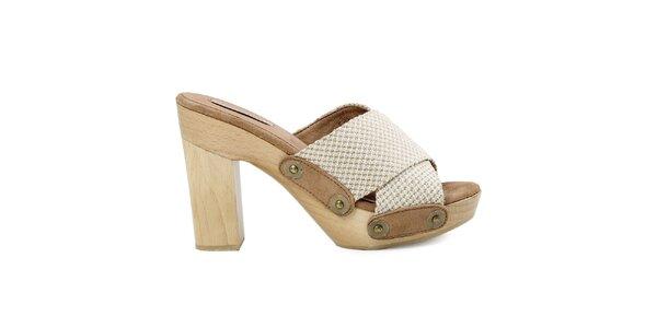 Dámske béžovo-biele sandálky s platformou Cubanas Shoes