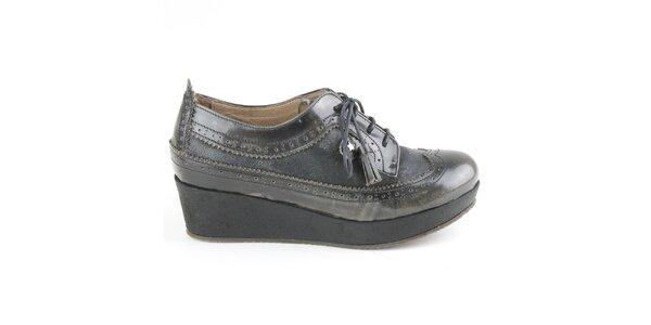 Dámske kožené antracitové poltopánky na platforme Cubanas Shoes