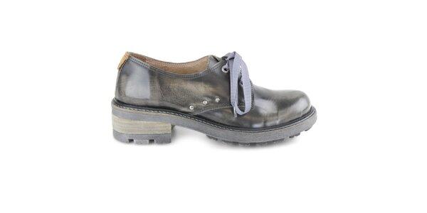 Dámske čierne poltopánky na kline Cubanas Shoes