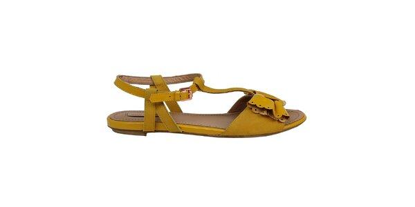Dámske žlté sandálky s mašľou Cubanas Shoes