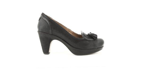 Dámske čierne kožené lodičky na opätku Cubanas Shoes