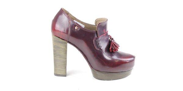 Dámske vínové kožené poltopánky na opätku Cubanas Shoes