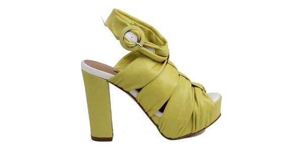 Dámske žlté nariasené kožené sandálky Cubanas Shoes