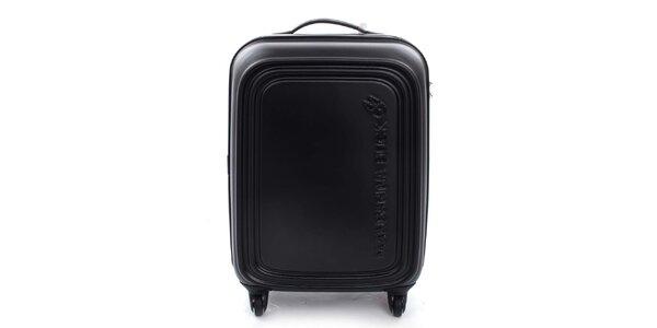 Stredne veľký čierny kufor na kolieskach a s TSA zámkom Mandarina Duck