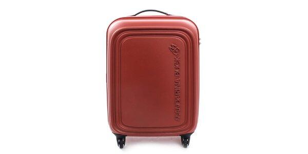 Stredne veľký červenooranžový kufor na kolieskach a s TSA zámkom Mandarina Duck