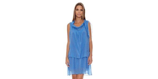 Dámske modré šaty so spadnutým výstrihom Assuili