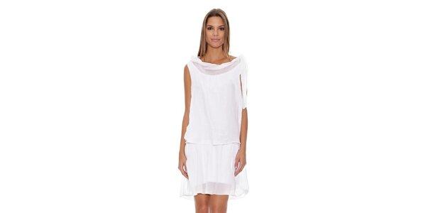 Dámske biele šaty so spadnutým výstrihom Assuili