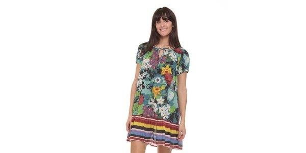 Dámske farebné šaty s pruhovaným lemom Janis
